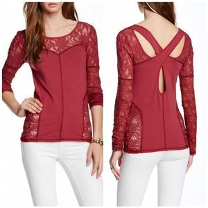 Free People Sweet Thang Burnt Red Lace Blouse
